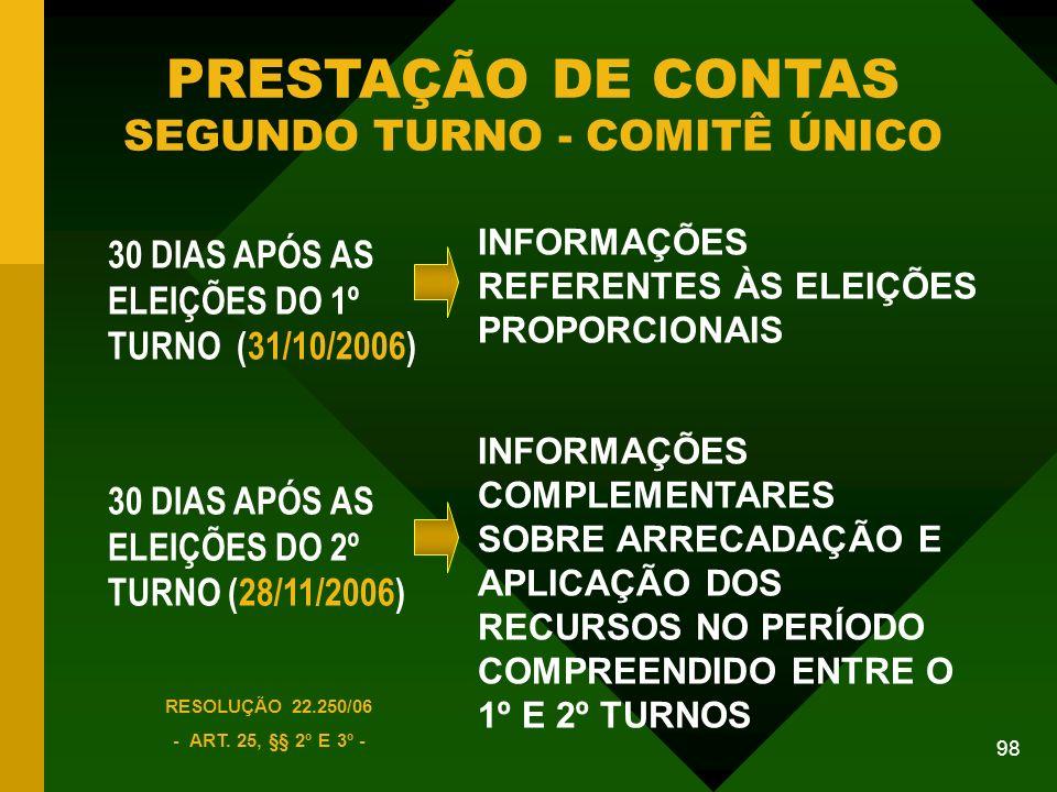 PRESTAÇÃO DE CONTAS SEGUNDO TURNO - COMITÊ ÚNICO