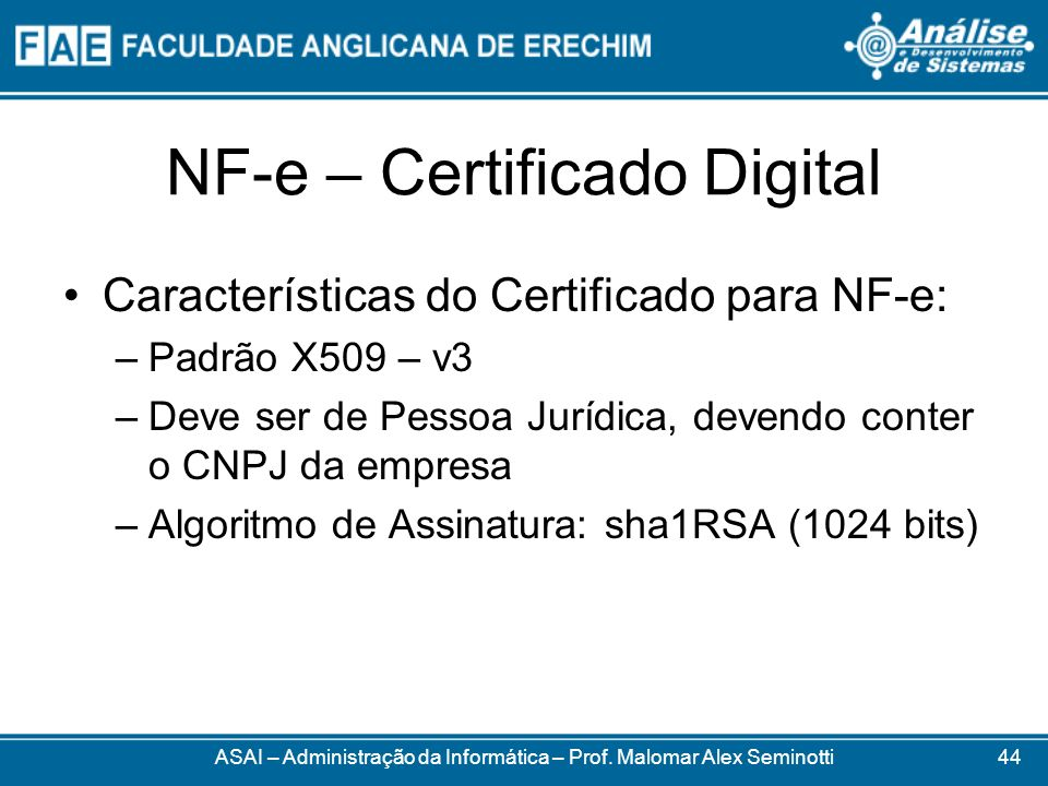 NF-e – Certificado Digital