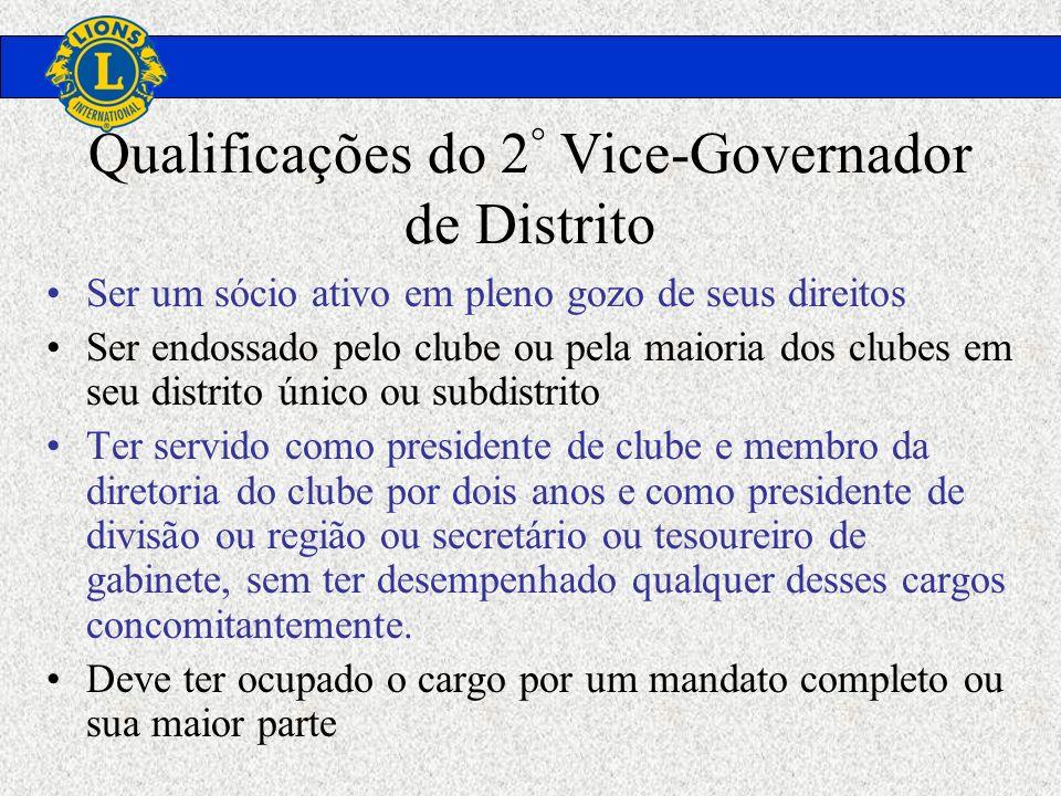 Qualificações do 2° Vice-Governador de Distrito