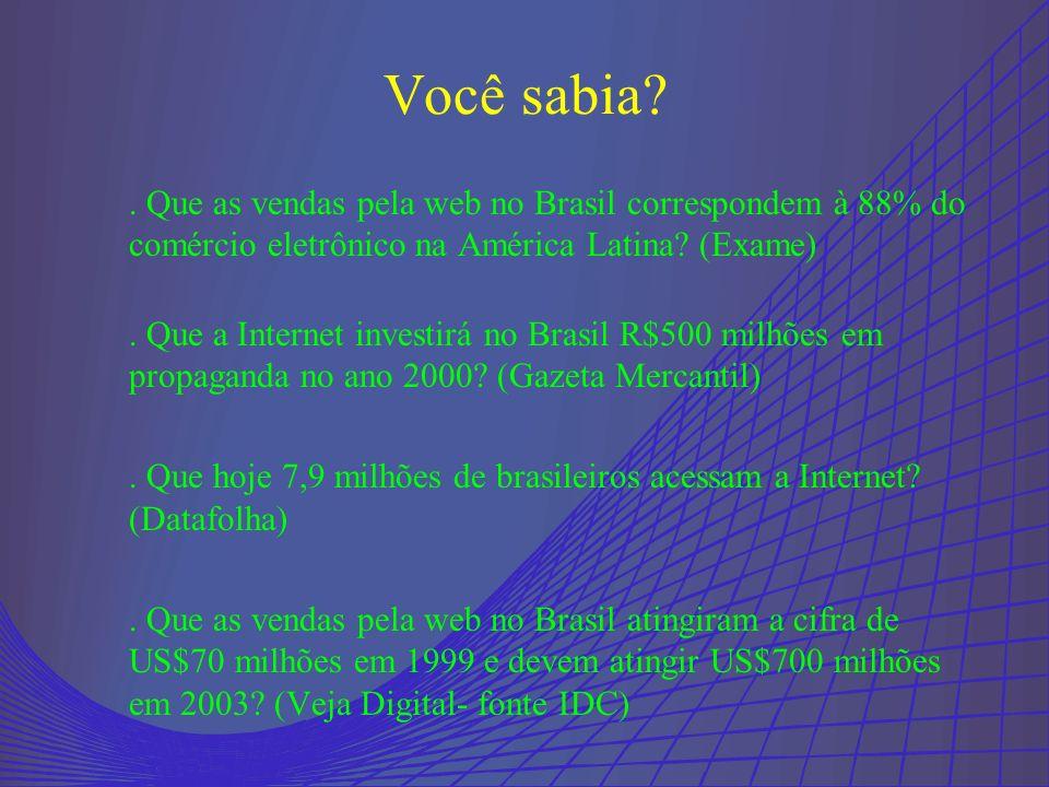 Você sabia . Que as vendas pela web no Brasil correspondem à 88% do comércio eletrônico na América Latina (Exame)