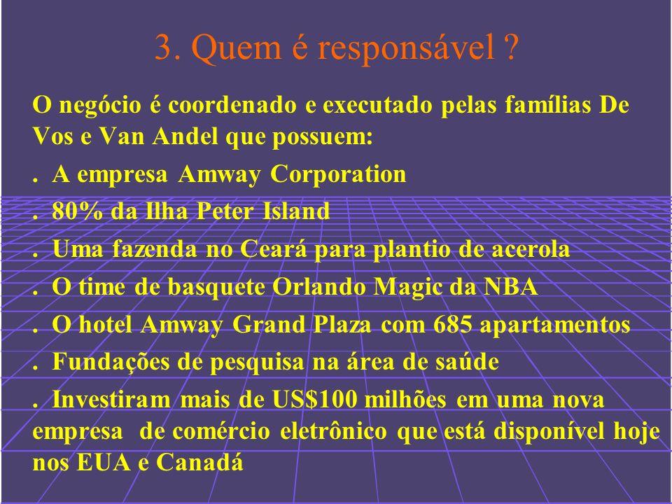 3. Quem é responsável O negócio é coordenado e executado pelas famílias De Vos e Van Andel que possuem: