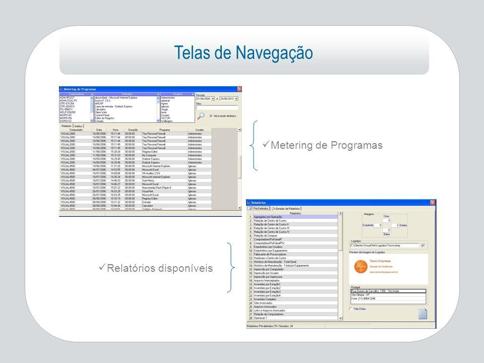 Telas de Navegação Metering de Programas Relatórios disponíveis
