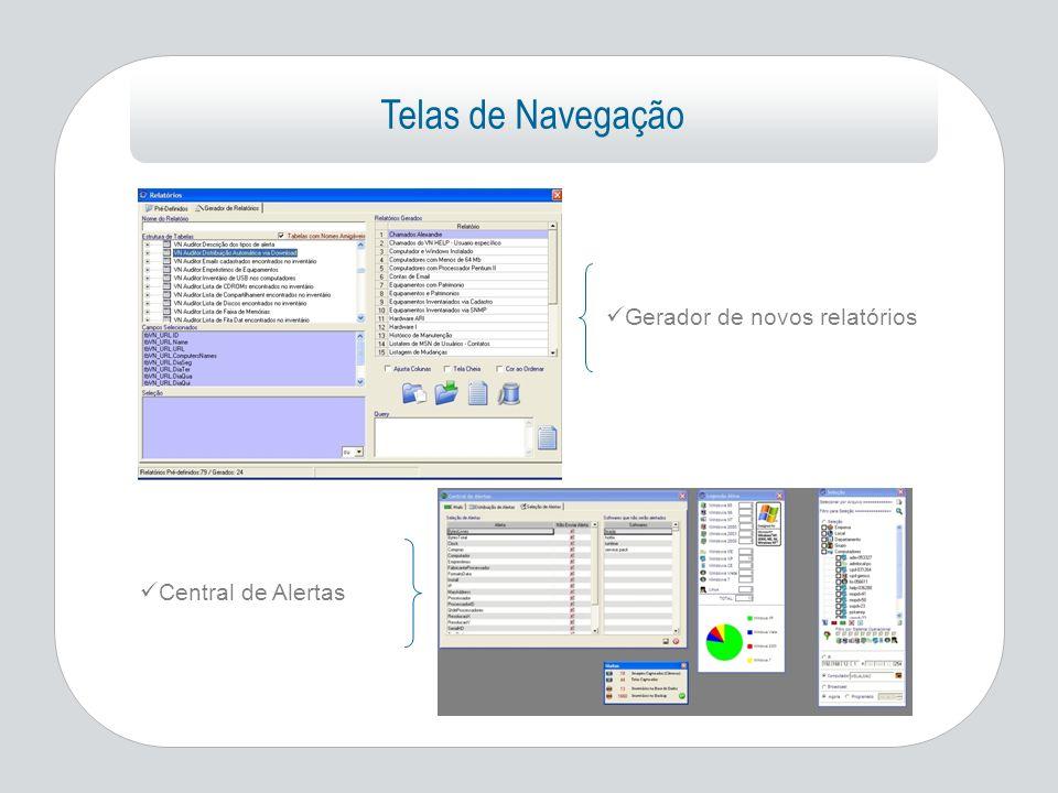 Telas de Navegação Gerador de novos relatórios Central de Alertas
