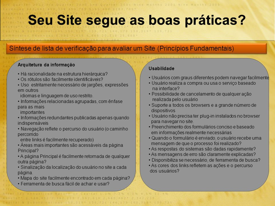 Seu Site segue as boas práticas