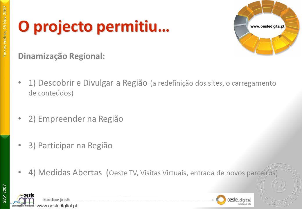 O projecto permitiu… Dinamização Regional: