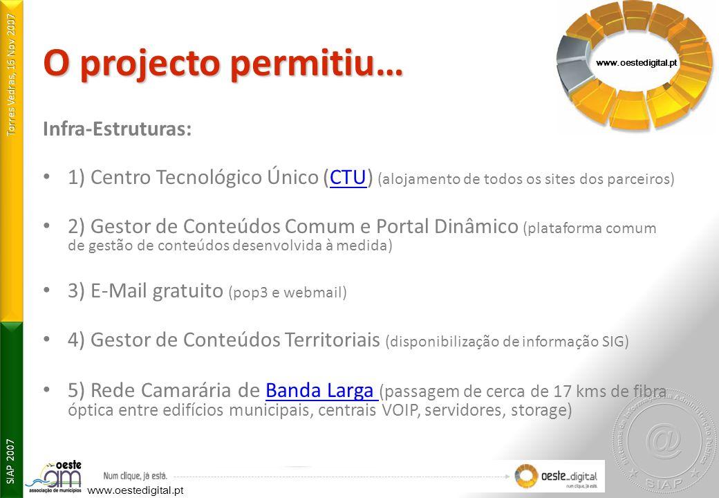 O projecto permitiu… Infra-Estruturas: