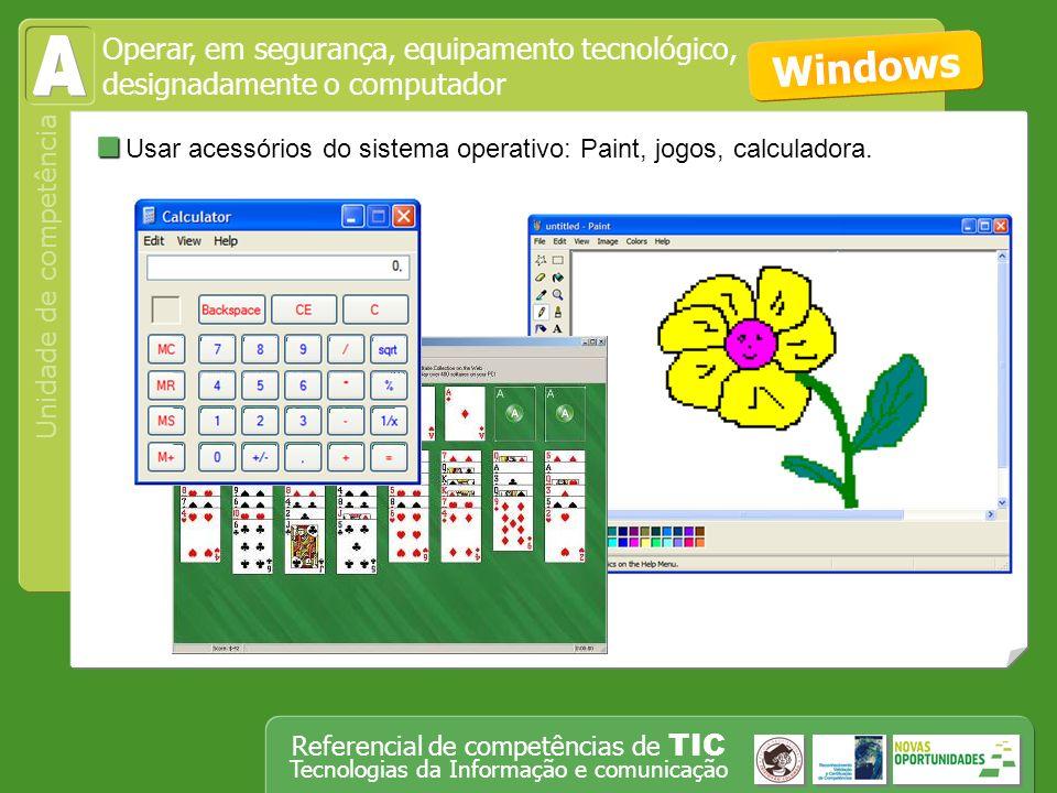 Operar, em segurança, equipamento tecnológico, designadamente o computador