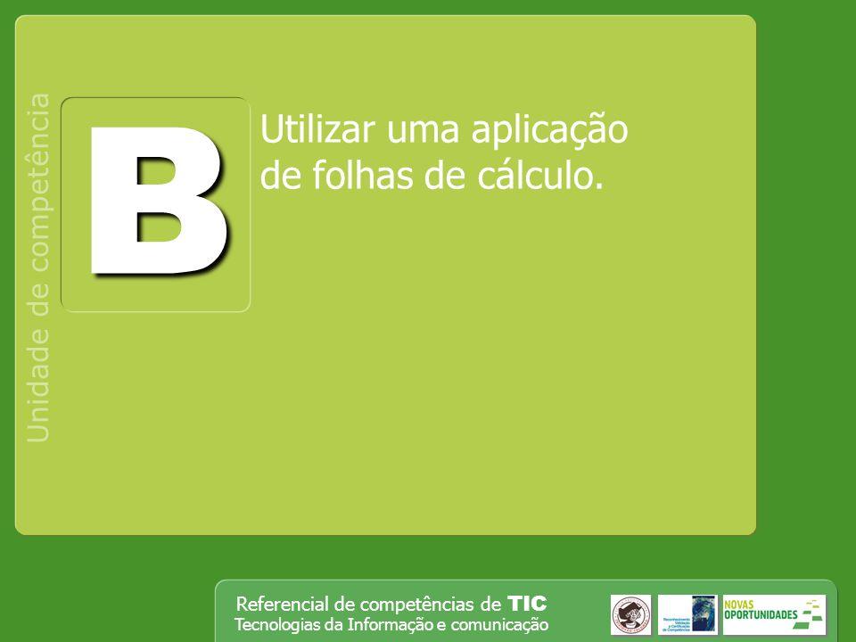 B Utilizar uma aplicação de folhas de cálculo. Unidade de competência