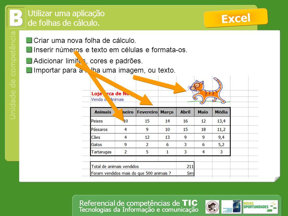 B Excel Criar uma nova folha de cálculo.