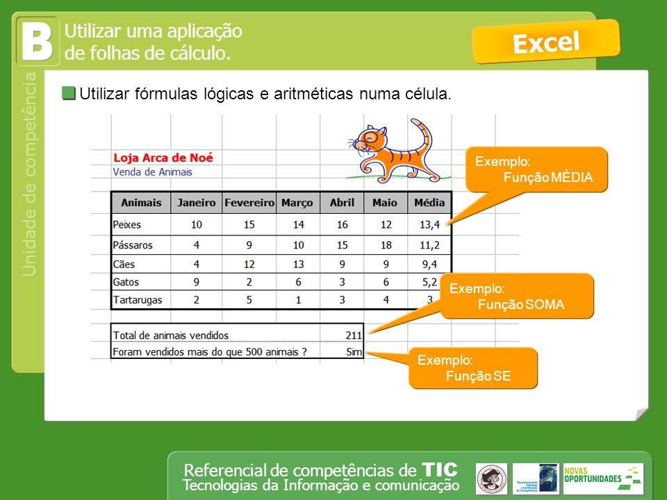 B Excel Utilizar fórmulas lógicas e aritméticas numa célula.