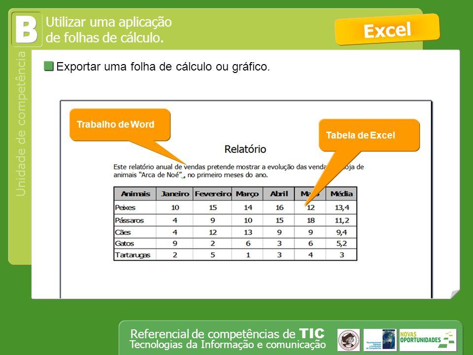 B Excel Exportar uma folha de cálculo ou gráfico.