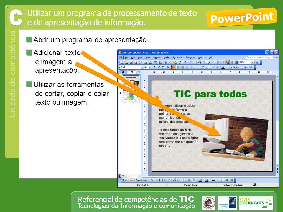 C PowerPoint Abrir um programa de apresentação.