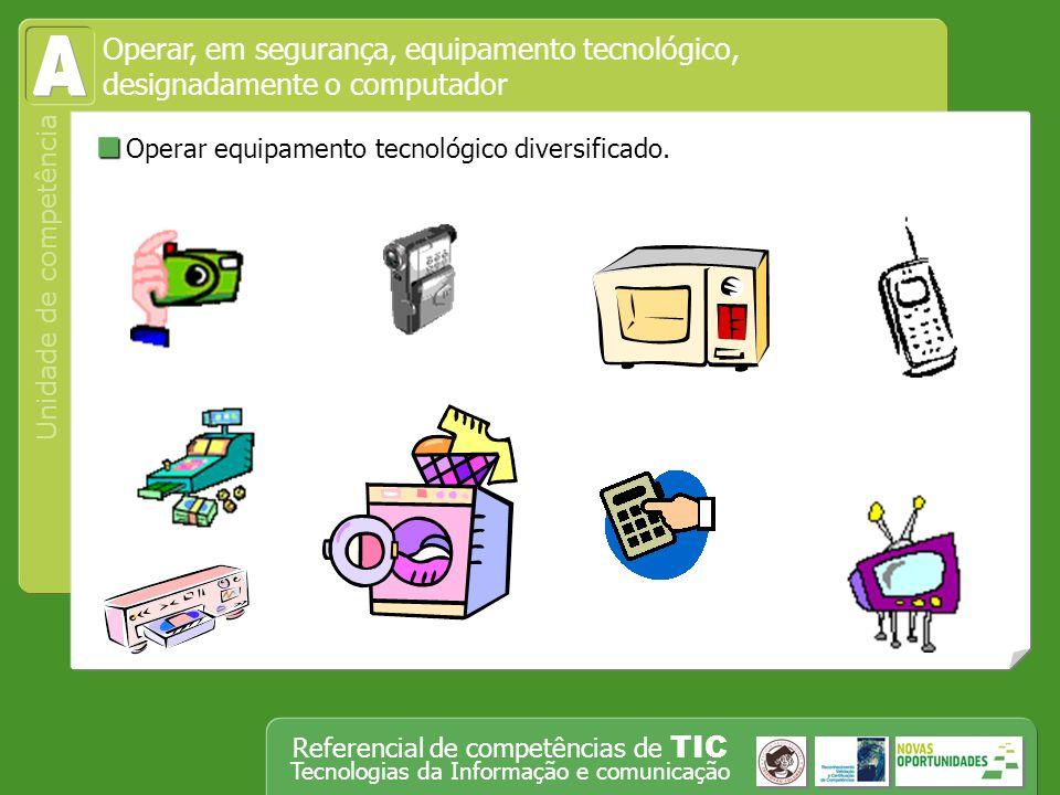 A Operar equipamento tecnológico diversificado.