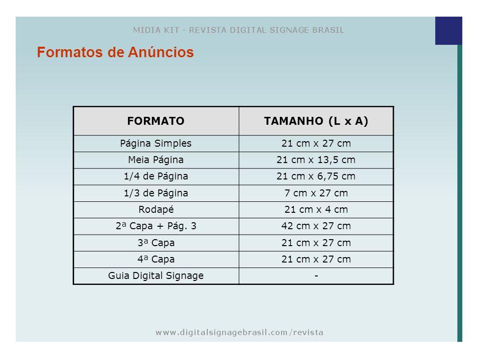 Formatos de Anúncios FORMATO TAMANHO (L x A) Página Simples