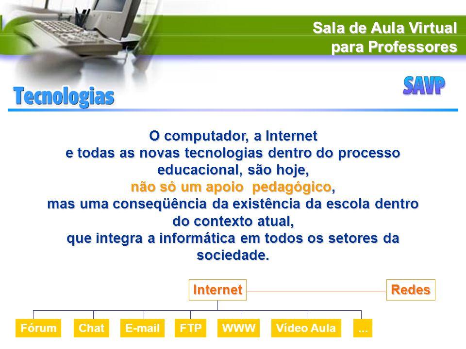 Sala de Aula Virtual para Professores O computador, a Internet