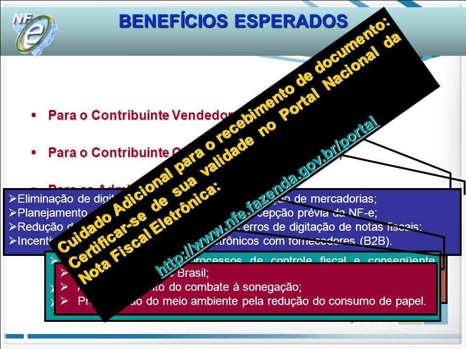 BENEFÍCIOS ESPERADOS BENEFÍCIOS ESPERADOS. Para o Contribuinte Vendedor (Emissor NF-e) Para o Contribuinte Comprador (Receptor NF-e)
