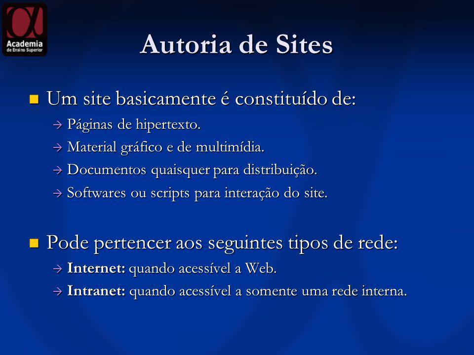 Autoria de Sites Um site basicamente é constituído de: