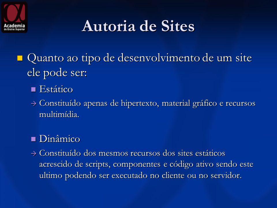 Autoria de Sites Quanto ao tipo de desenvolvimento de um site ele pode ser: Estático.