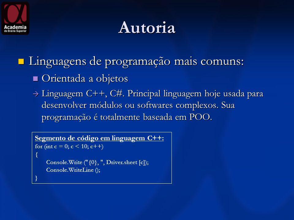 Autoria Linguagens de programação mais comuns: Orientada a objetos