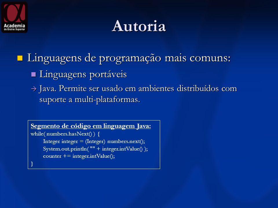 Autoria Linguagens de programação mais comuns: Linguagens portáveis