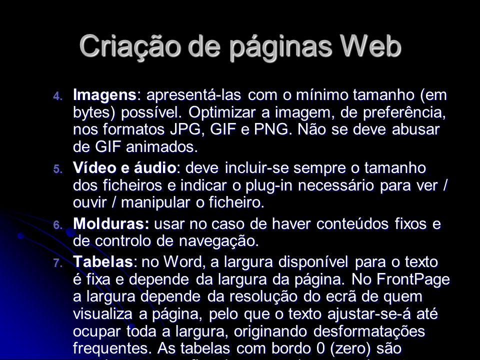 Criação de páginas Web