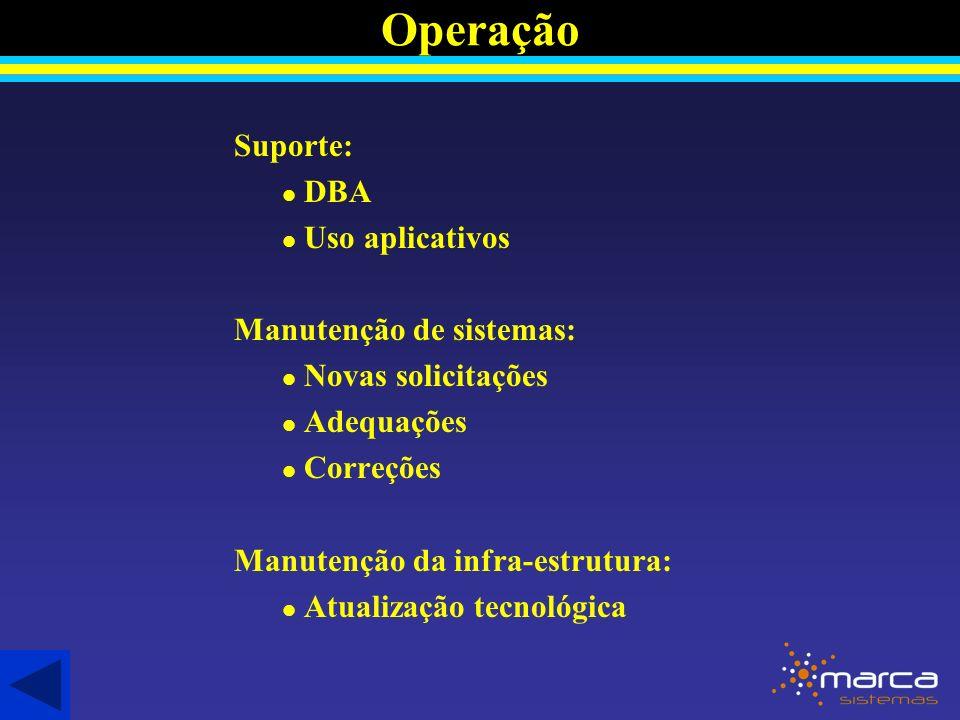 Operação Suporte: DBA Uso aplicativos Manutenção de sistemas:
