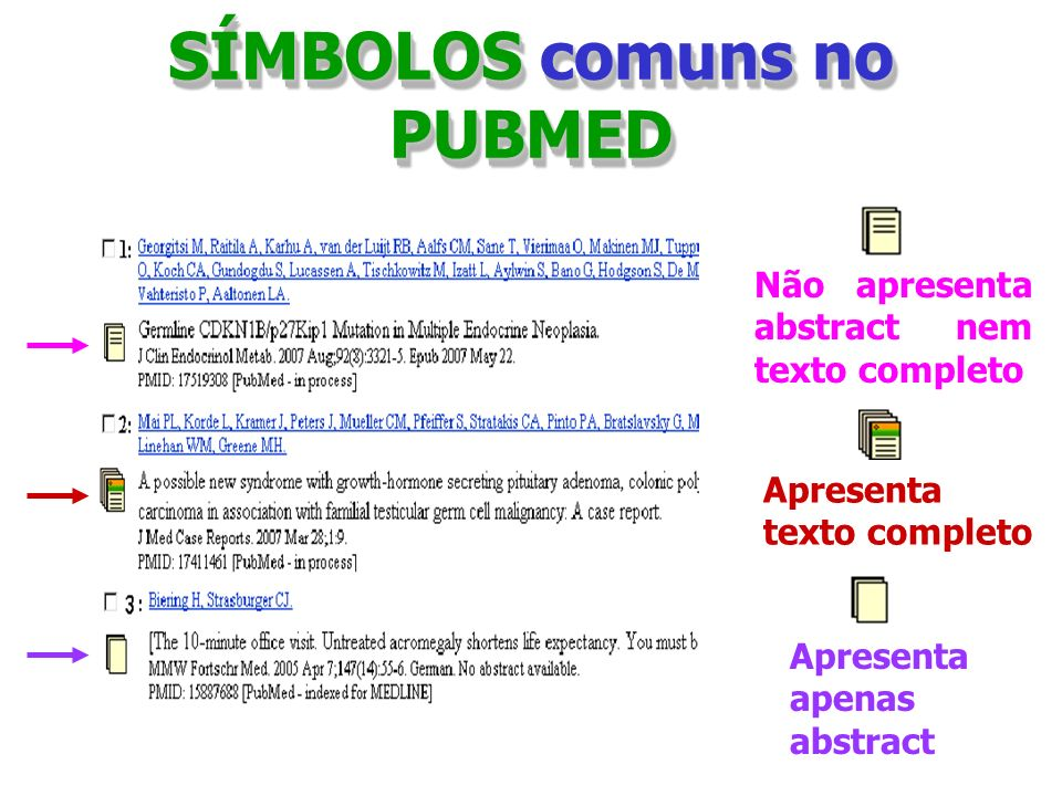 SÍMBOLOS comuns no PUBMED