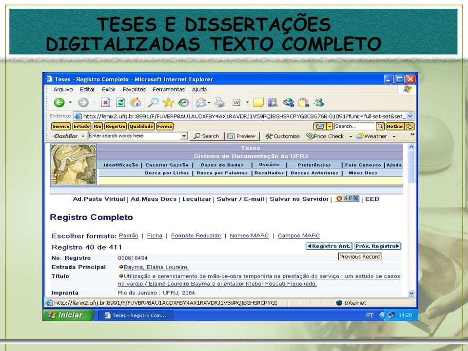 TESES E DISSERTAÇÕES DIGITALIZADAS TEXTO COMPLETO
