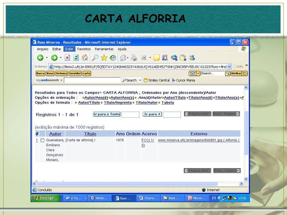 CARTA ALFORRIA