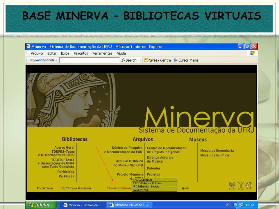 BASE MINERVA – BIBLIOTECAS VIRTUAIS