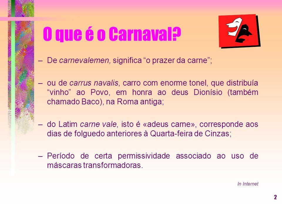 O que é o Carnaval De carnevalemen, significa o prazer da carne ;
