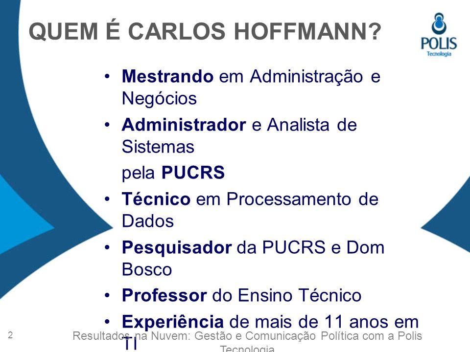 QUEM É CARLOS HOFFMANN Mestrando em Administração e Negócios