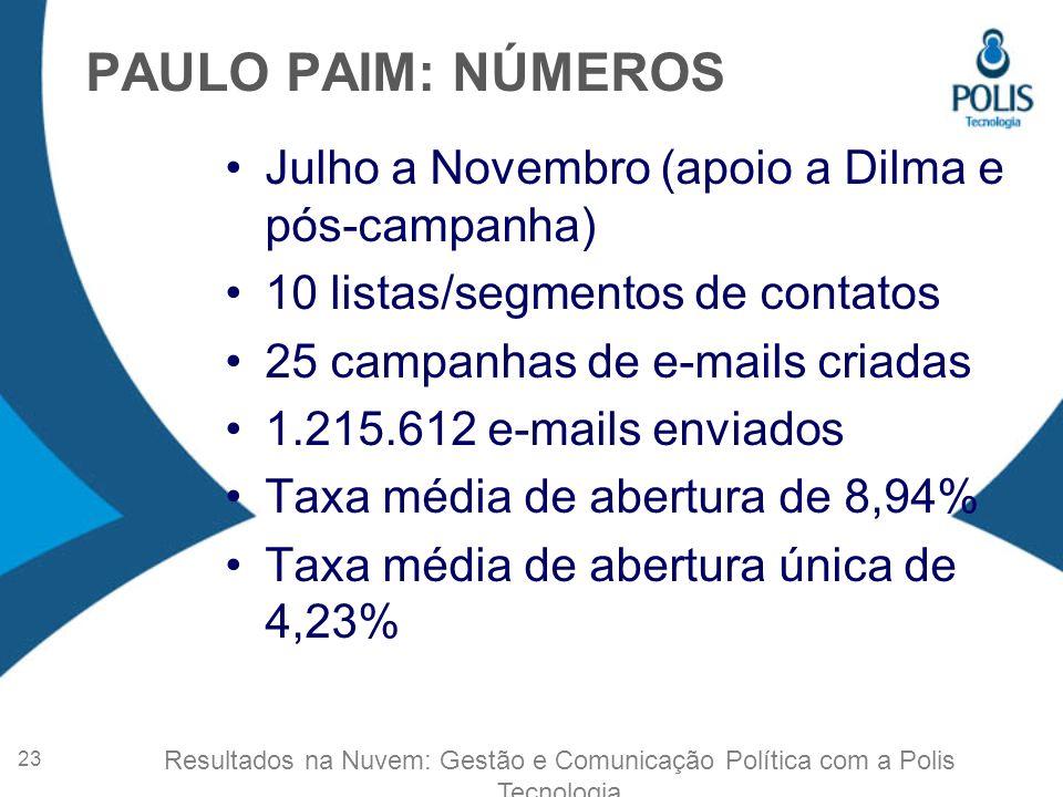 PAULO PAIM: NÚMEROS Julho a Novembro (apoio a Dilma e pós-campanha)