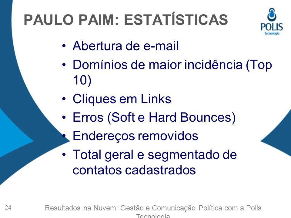 PAULO PAIM: ESTATÍSTICAS