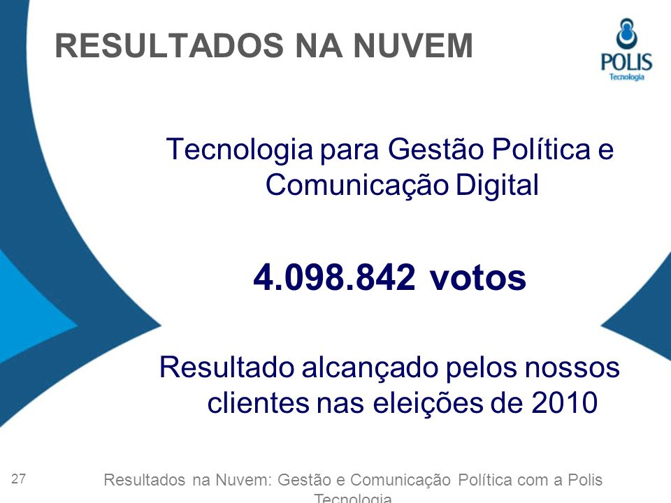 4.098.842 votos RESULTADOS NA NUVEM