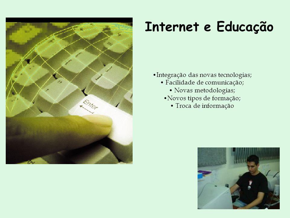 Internet e Educação Integração das novas tecnologias;