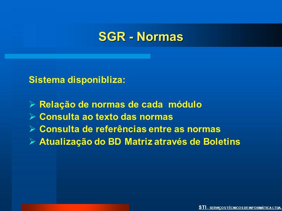 SGR - Normas Sistema disponibliza: Relação de normas de cada módulo