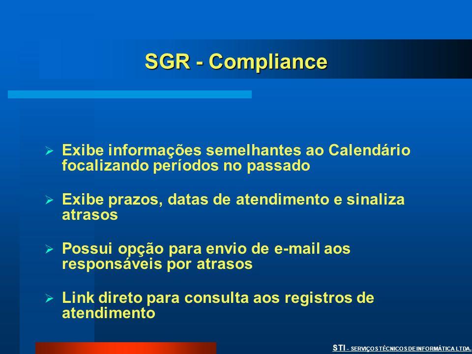 SGR - Compliance Exibe informações semelhantes ao Calendário focalizando períodos no passado. Exibe prazos, datas de atendimento e sinaliza atrasos.