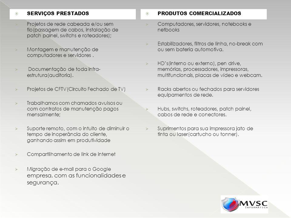 SERVIÇOS PRESTADOS PRODUTOS COMERCIALIZADOS.