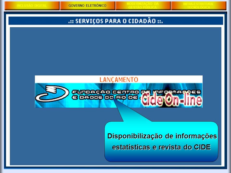 Disponibilização de informações estatísticas e revista do CIDE