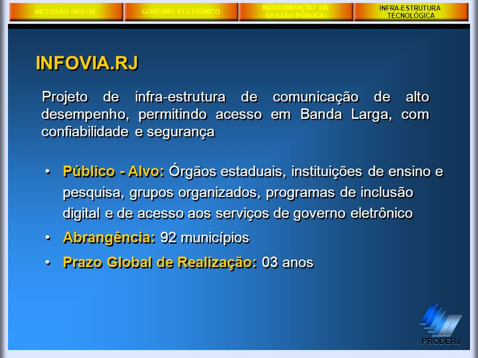 INFRA-ESTRUTURA TECNOLÓGICA. INFOVIA.RJ.