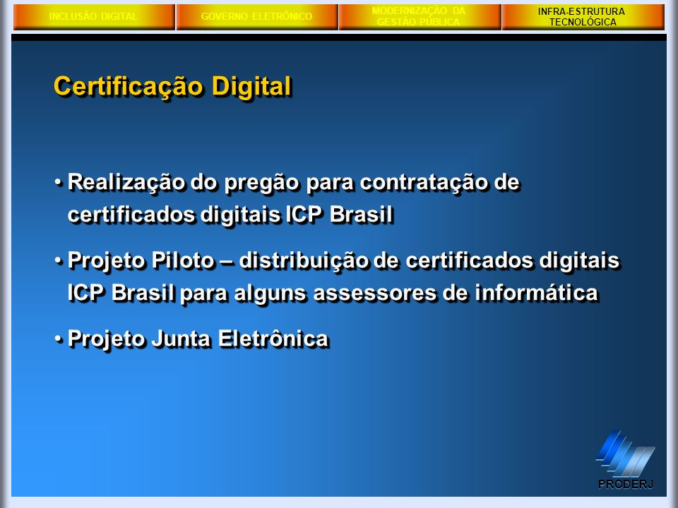 INFRA-ESTRUTURA TECNOLÓGICA. Certificação Digital. Realização do pregão para contratação de certificados digitais ICP Brasil.