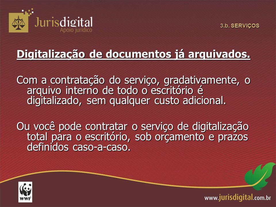 Digitalização de documentos já arquivados.