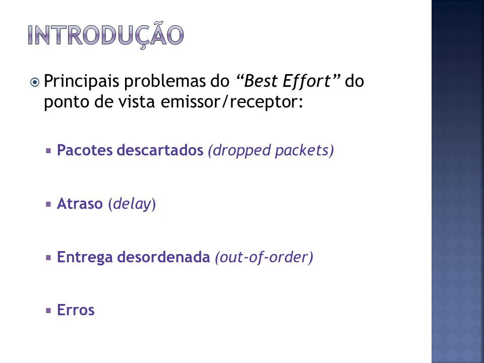 Introdução Principais problemas do Best Effort do ponto de vista emissor/receptor: Pacotes descartados (dropped packets)