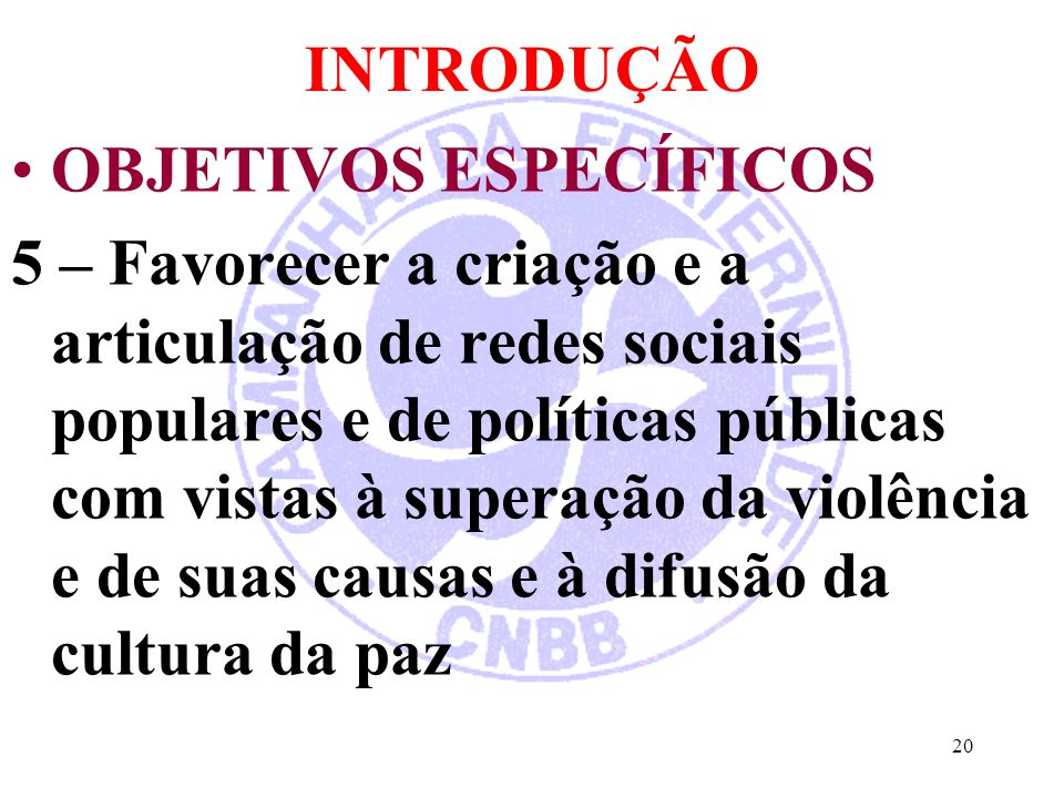 INTRODUÇÃO OBJETIVOS ESPECÍFICOS.