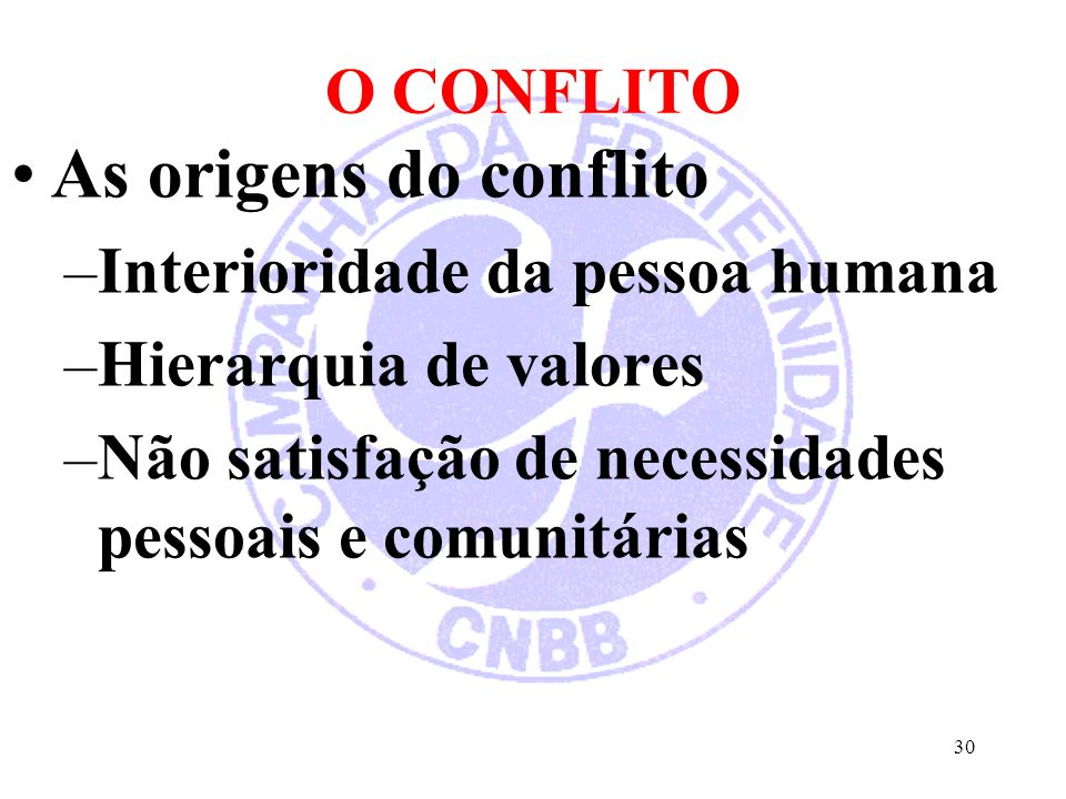 As origens do conflito O CONFLITO Interioridade da pessoa humana