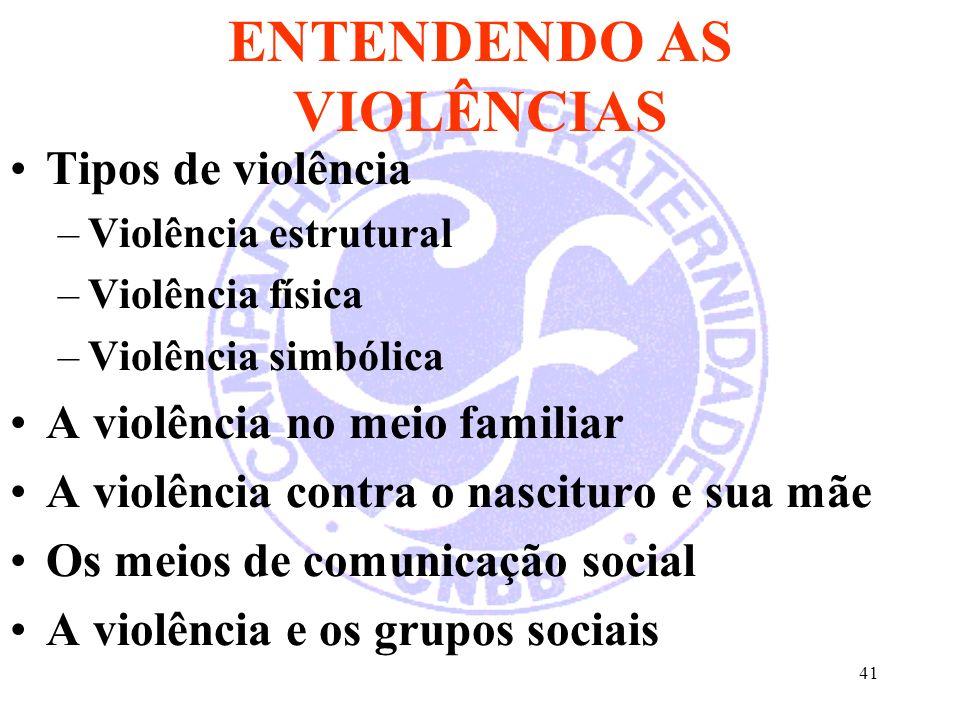 ENTENDENDO AS VIOLÊNCIAS