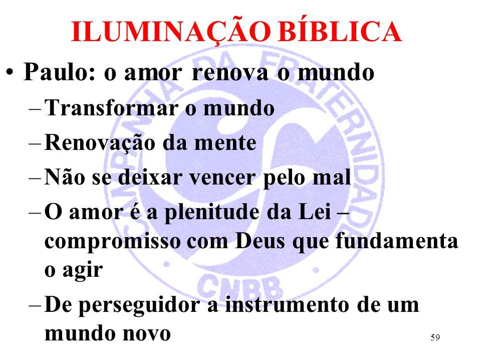 ILUMINAÇÃO BÍBLICA Paulo: o amor renova o mundo Transformar o mundo