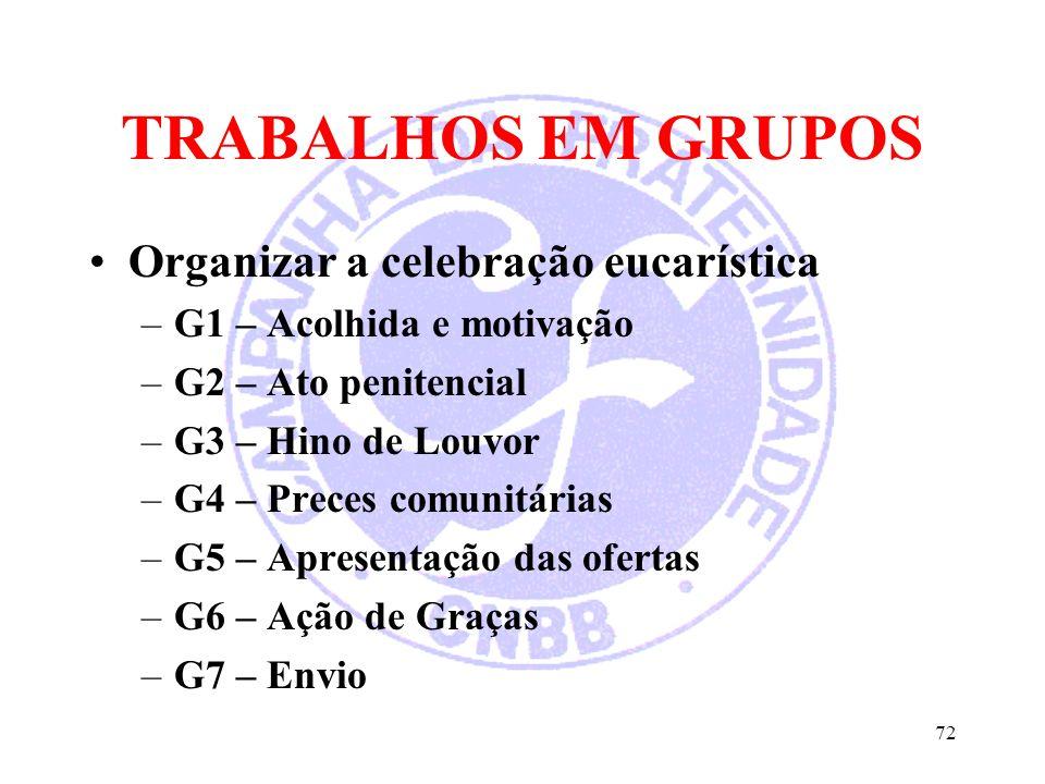TRABALHOS EM GRUPOS Organizar a celebração eucarística