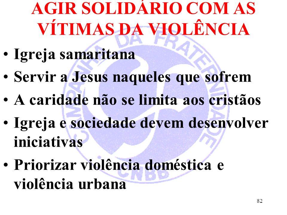 AGIR SOLIDÁRIO COM AS VÍTIMAS DA VIOLÊNCIA